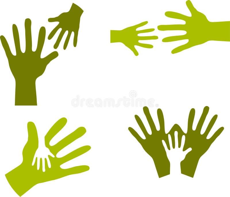 dziecko 2 dorosłej ręki s ilustracja wektor