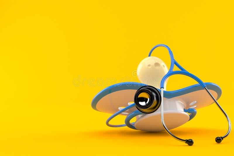 Dziecko atrapa z stetoskopem ilustracja wektor
