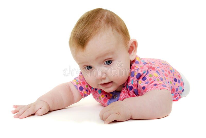 Dziecko bawić się na białym tle. zdjęcie stock