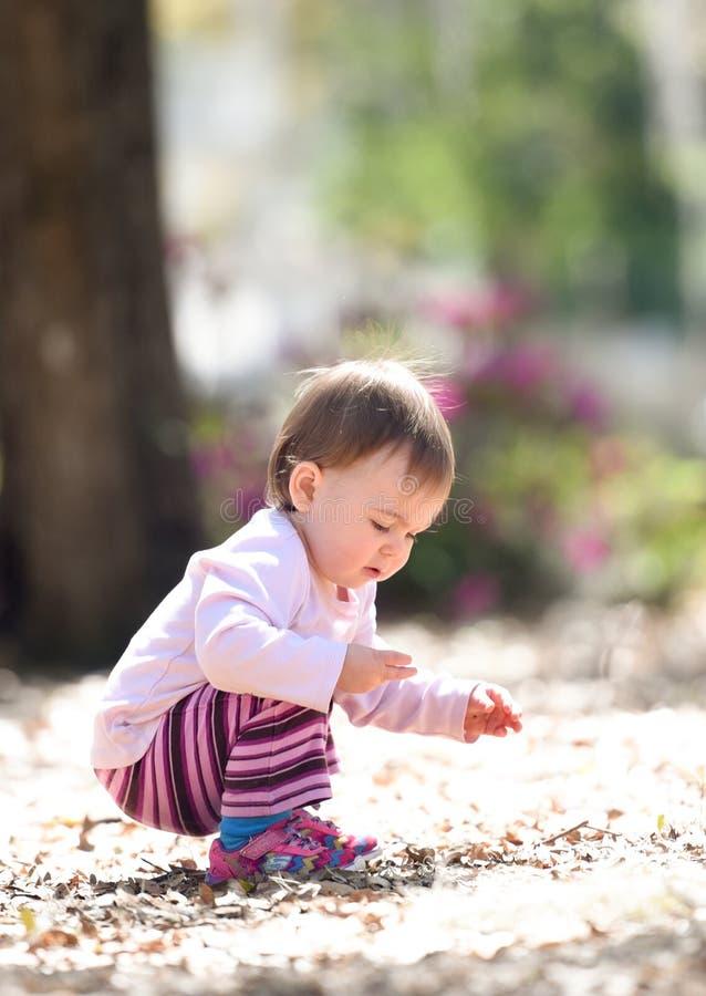 Dziecko bawić się przy parkiem podnosi up kołysa obrazy royalty free