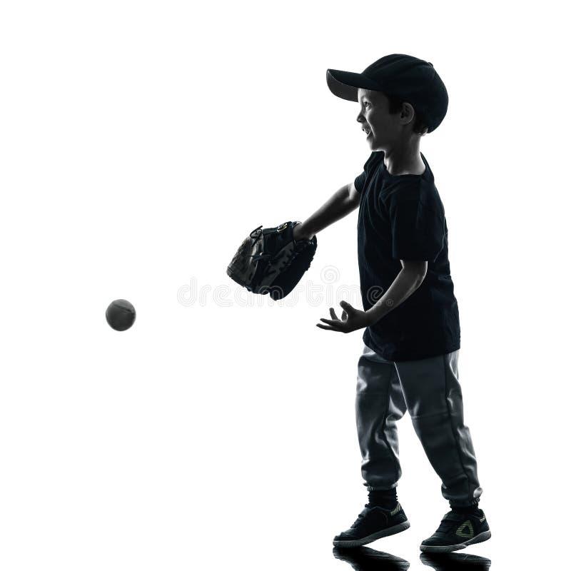 Dziecko bawić się softballi graczów sylwetkę odizolowywającą fotografia royalty free