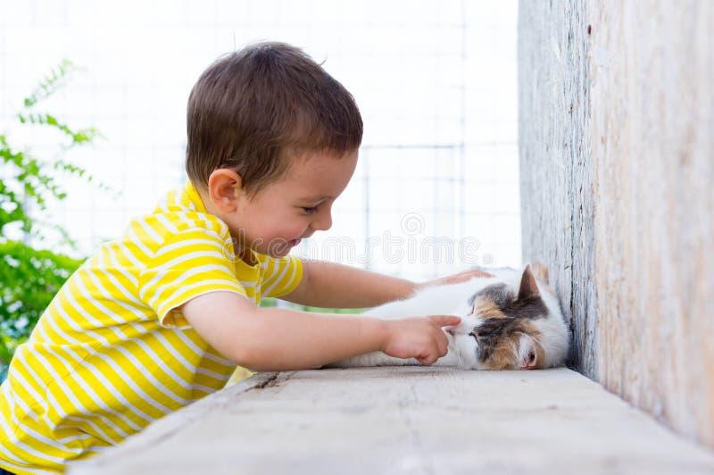 Dziecko bawić się z kotem fotografia royalty free