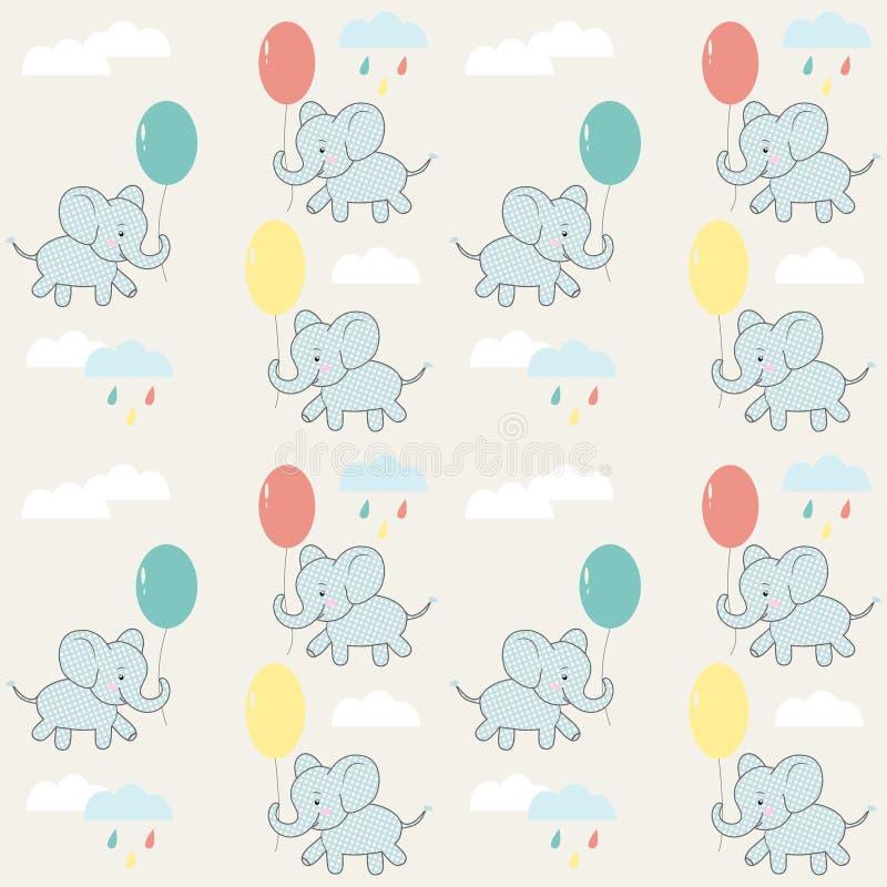 Dziecko bezszwowy wzór z słoniami, chmurami i balonami, 10 t?o projekta eps techniki wektor ilustracji