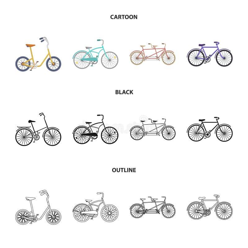Dziecko bicykl, dwoisty tandem i inni typ, Różni bicykle ustawiać inkasowe ikony w kreskówce, czerń, konturu styl ilustracji