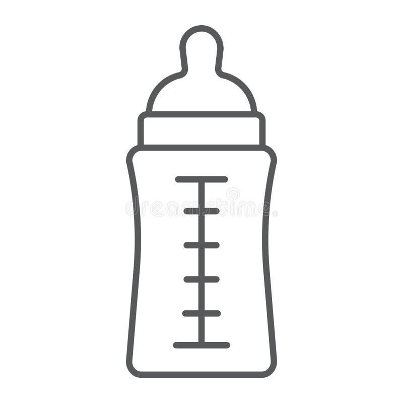 Dziecko butelki cienka kreskowa ikona, karma i mleko, zbiornika znak, wektorowe grafika, liniowy wzór na białym tle ilustracja wektor