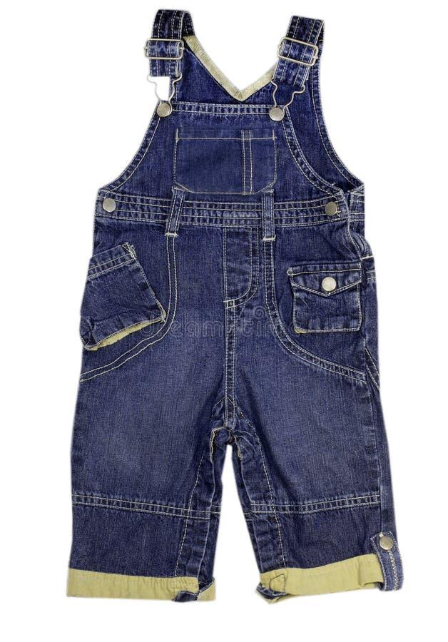 Dziecko cajgów męski spodniowy kombinezon odizolowywający obraz stock