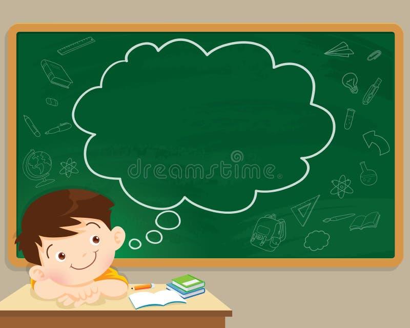Dziecko chłopiec chalkboard i główkowanie royalty ilustracja