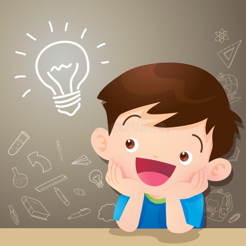 Dziecko chłopiec myślący pomysł i chalkboard ilustracja wektor