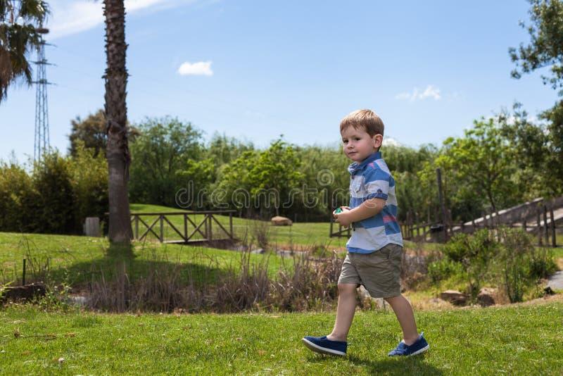 Dziecko chłopiec odprowadzenie w parku fotografia royalty free