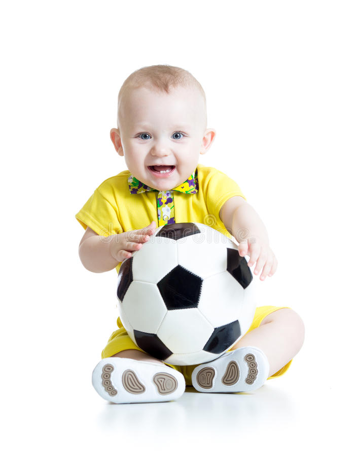 Dziecko chłopiec z nożną piłką zdjęcia stock