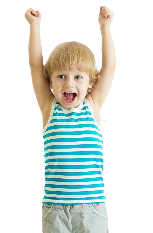 Dziecko chłopiec z rękami up patrzeć szczęśliwa obraz royalty free