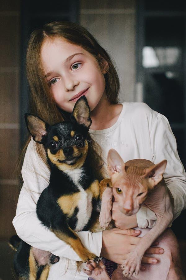 Dziecko ?ciska psa i kota obrazy royalty free