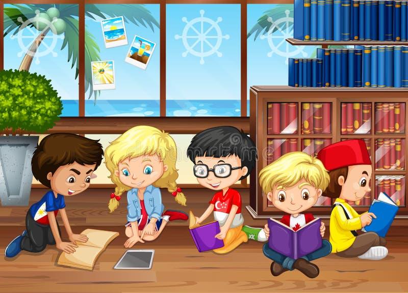 Dziecko czytelnicze książki w bibliotece ilustracji