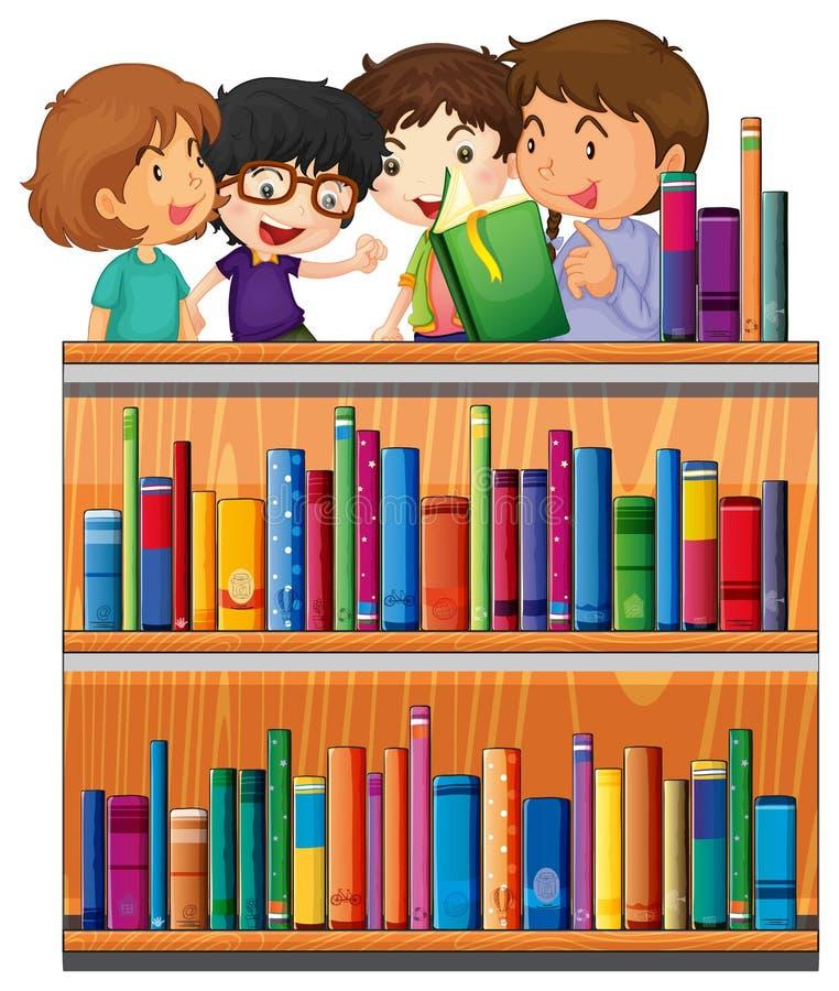 Dziecko czytelnicze książki w bibliotece royalty ilustracja