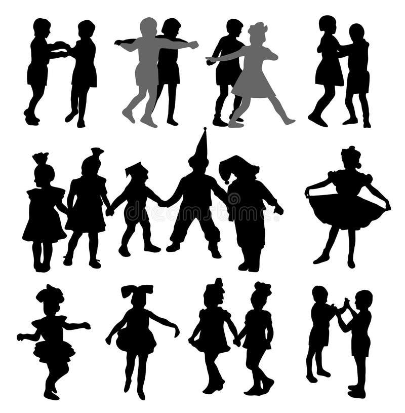 Dziecko dancingowe sylwetki ilustracja wektor