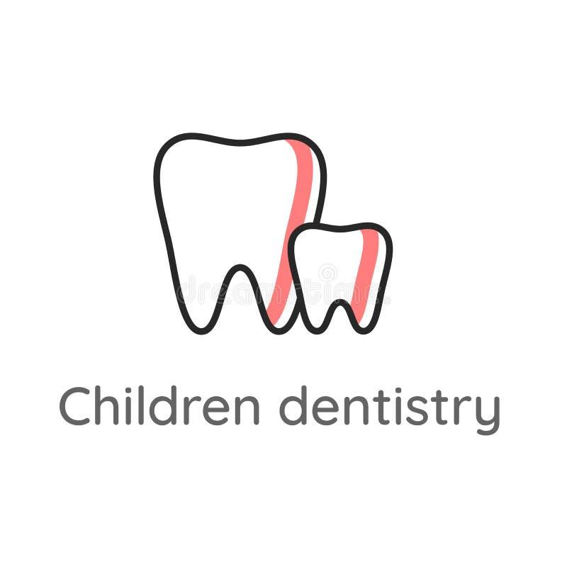Dziecko dentystyka Dojni z?by Du?y z?b i ma?y z?b Stomatologiczna ikona lub ilustracja ilustracji