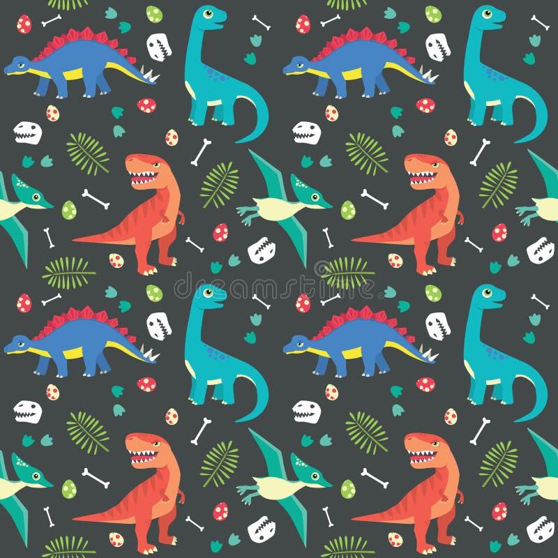Dziecko dinosaura Bezszwowy Deseniowy Kolorowy Wektorowy Ilustracyjny Ciemny tło ilustracji