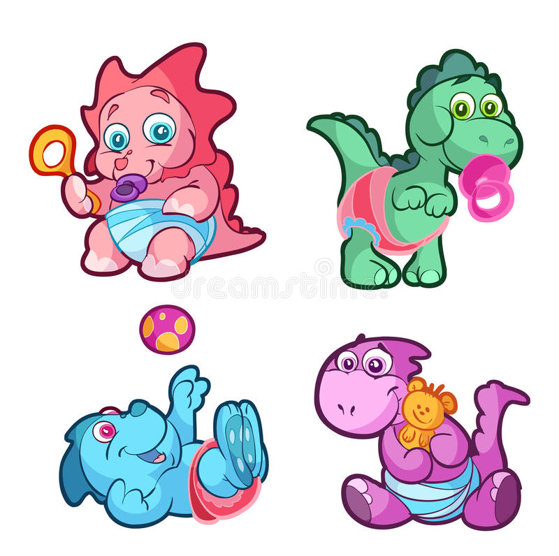 Dziecko dinosaury ilustracji