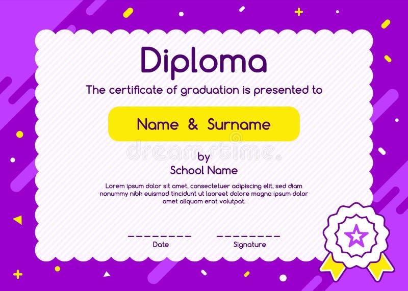 Dziecko dyplom lub świadectwo projekta szablon na purpurowym tle ilustracja wektor