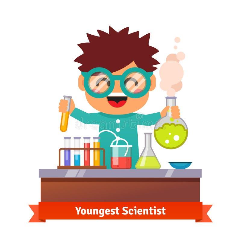 Dziecko dzieciak robi chemia eksperymentom ilustracja wektor