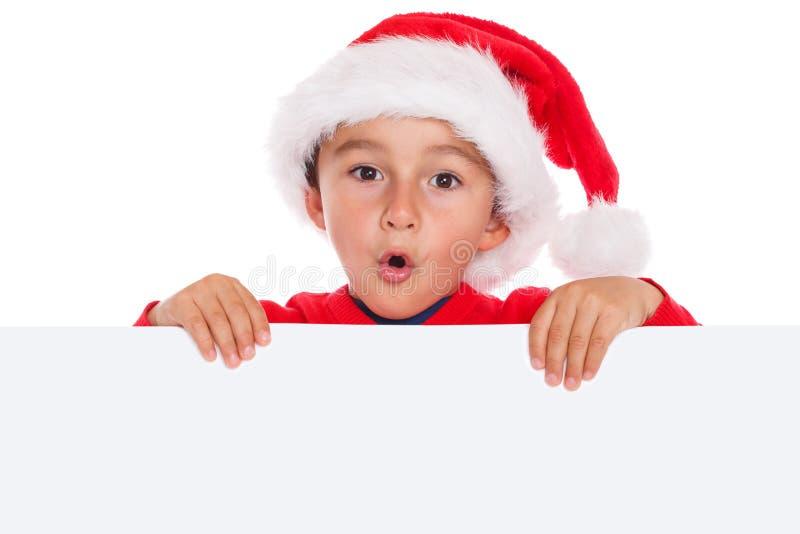 Dziecko dzieciaka Święty Mikołaj sztandaru Bożenarodzeniowy pusty copyspace zaskakujący zdjęcia royalty free
