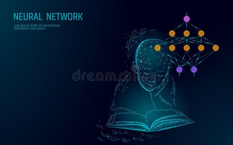 Dziecko edukacji online pojęcie Sztuczny neural sieci technologii nauki medycyny obłoczny obliczać AI 3D abstrakt royalty ilustracja