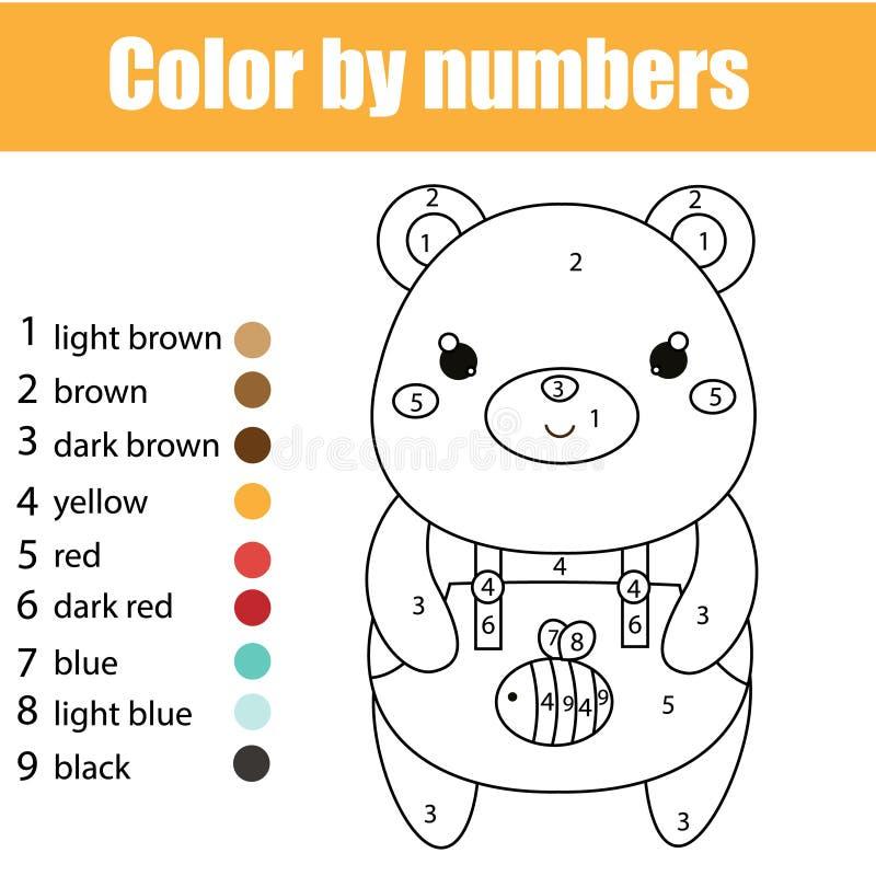 Dziecko edukacyjna gra Barwić stronę z ślicznym niedźwiedziem Kolor liczbami, printable aktywność ilustracji