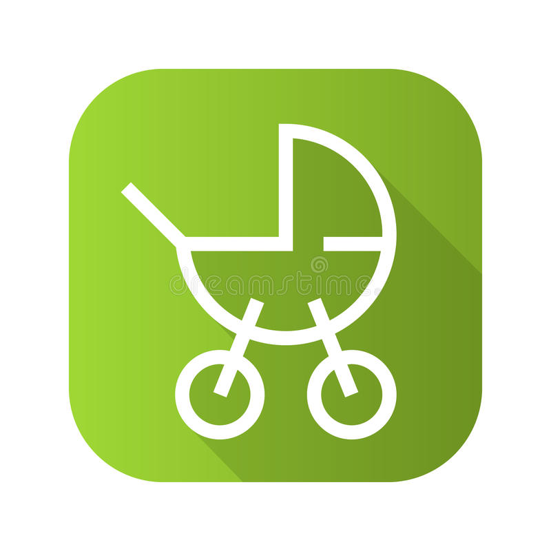 Dziecko frachtu cienia płaska liniowa długa ikona Wektoru kreskowy symbol ilustracji