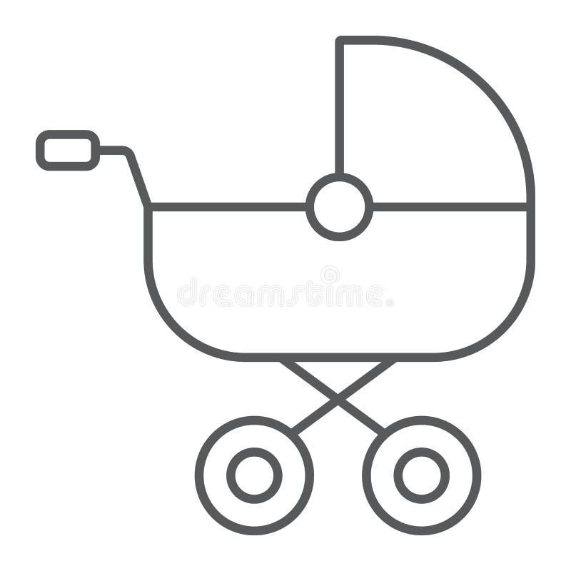 Dziecko frachtu cienka kreskowa ikona, dziecko i pram, powozika znak, wektorowe grafika, liniowy wzór na białym tle royalty ilustracja