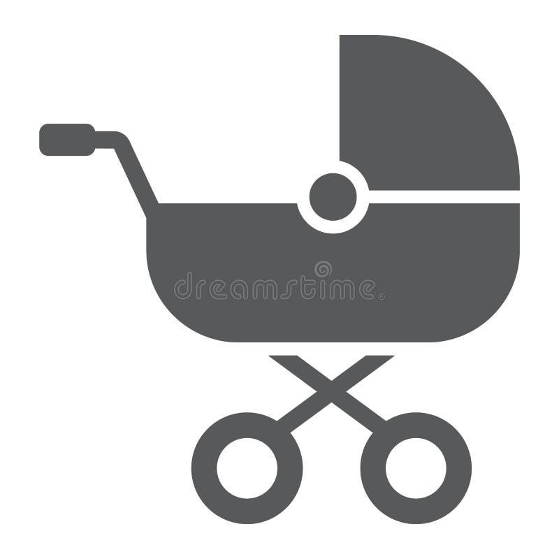 Dziecko frachtu glifu ikona, dziecko i pram, powozika znak, wektorowe grafika, bryła wzór na białym tle royalty ilustracja