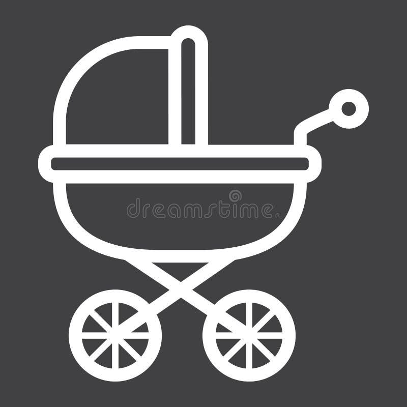 Dziecko frachtu linii ikona, pram i pushchair, ilustracja wektor