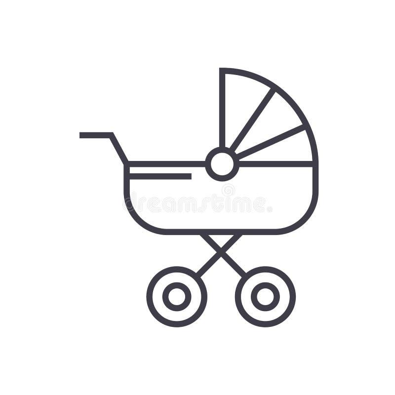 Dziecko frachtu wektoru linii ikona, znak, ilustracja na tle, editable uderzenia ilustracja wektor