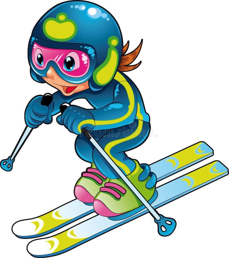dziecko gracza narciarka ilustracji