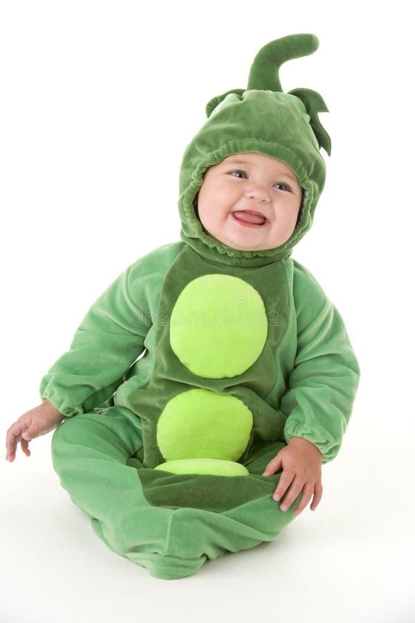 dziecko grochu kostiumowe komory się uśmiecha obrazy royalty free