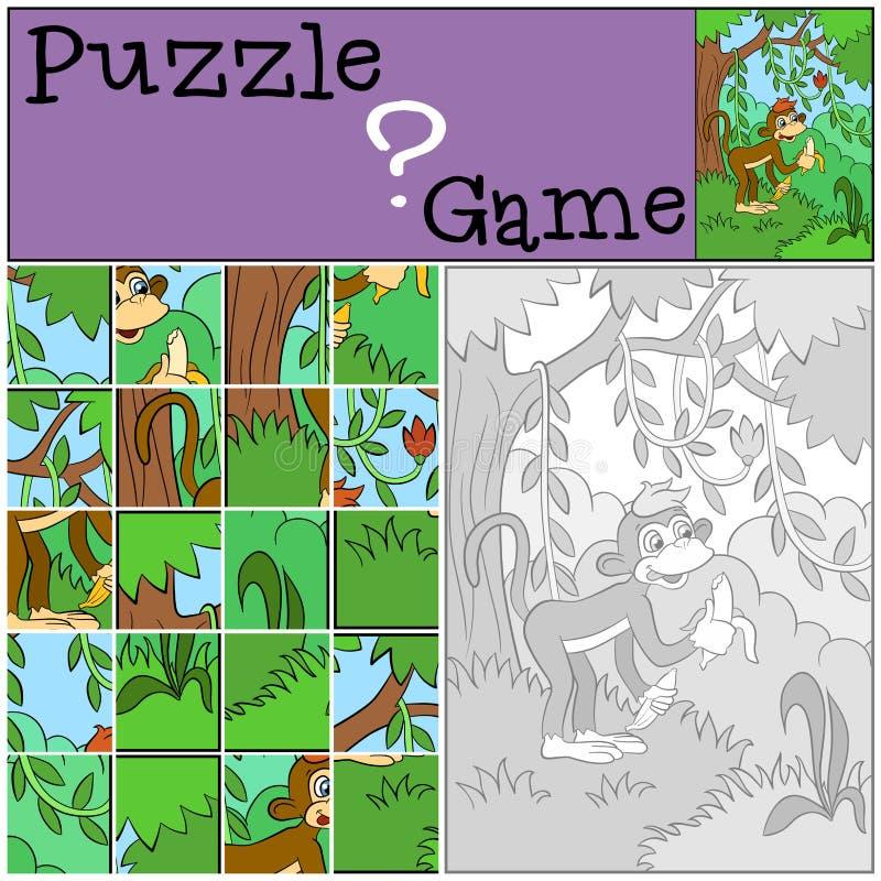 Dziecko gry: Łamigłówka Mała śliczna małpa ilustracji