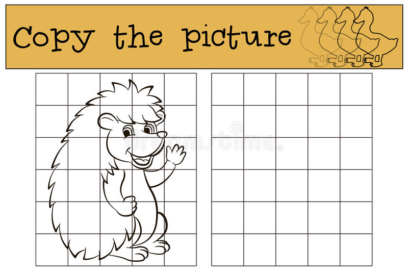 Dziecko gry: Kopiuje obrazek Mały śliczny jeż ilustracja wektor