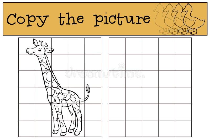 Dziecko gry: Kopiuje obrazek trochę śliczna żyrafa royalty ilustracja