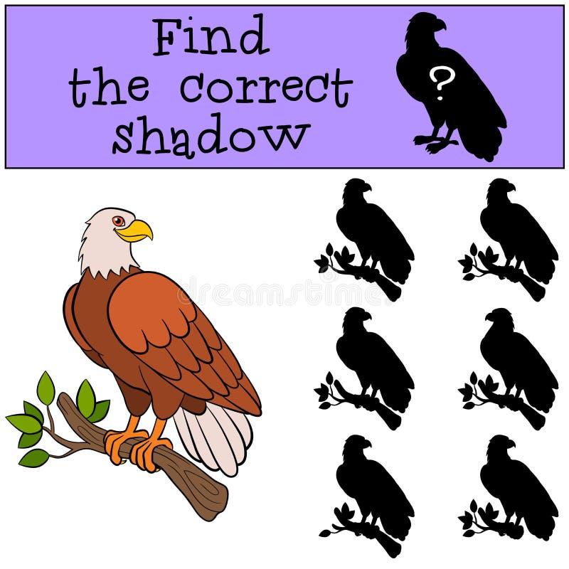 Dziecko gry: Znajduje poprawnego cień Śliczny łysy orzeł siedzi na gałąź ilustracji