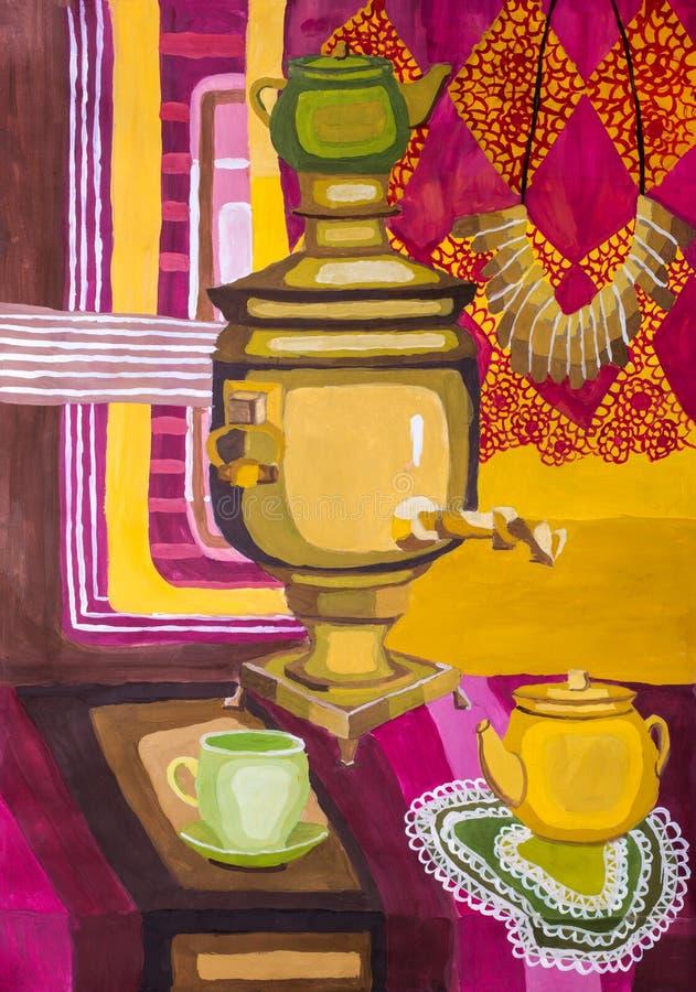 Dziecko guaszu obraz «Dekoracyjny życie z samowarem na stołowym wciąż « ilustracji