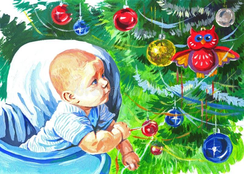 Dziecko i boże narodzenie zabawki ilustracja wektor