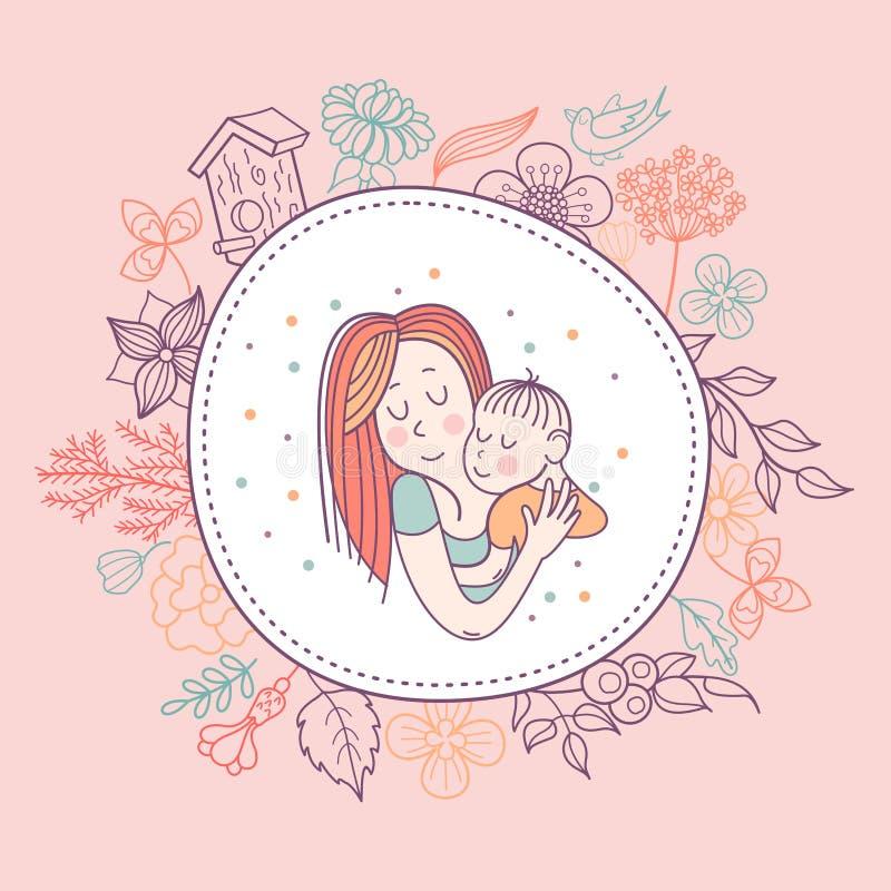 Dziecko i matka również zwrócić corel ilustracji wektora ilustracja wektor