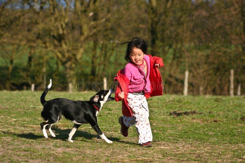 Dziecko i pies obraz royalty free