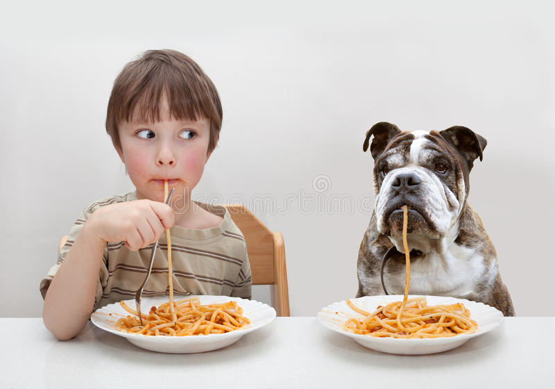 Dziecko i pies zdjęcie royalty free