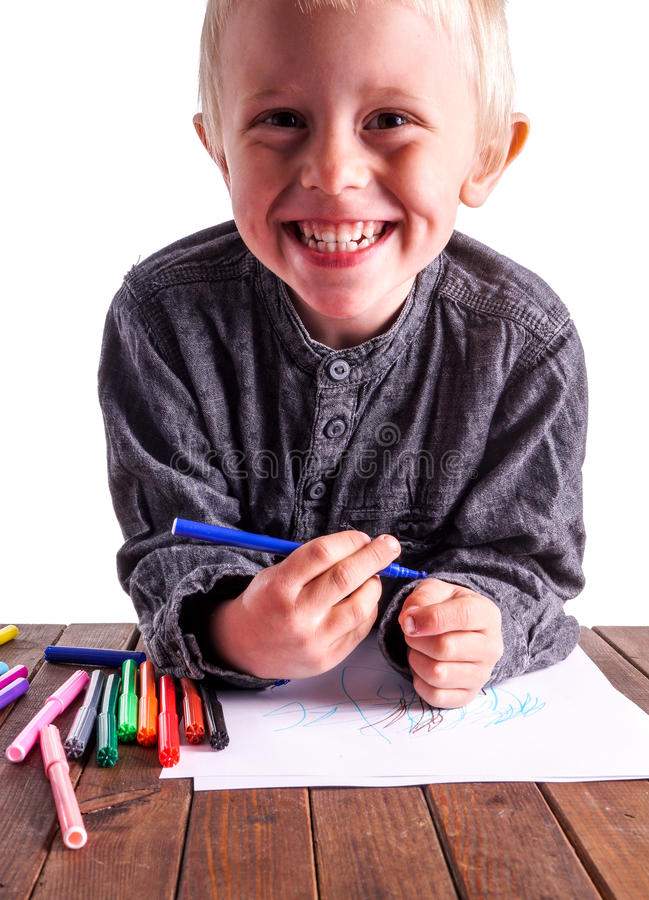 Dziecko i rysunek fotografia stock