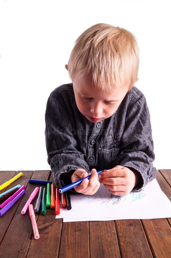 Dziecko i rysunek obraz royalty free