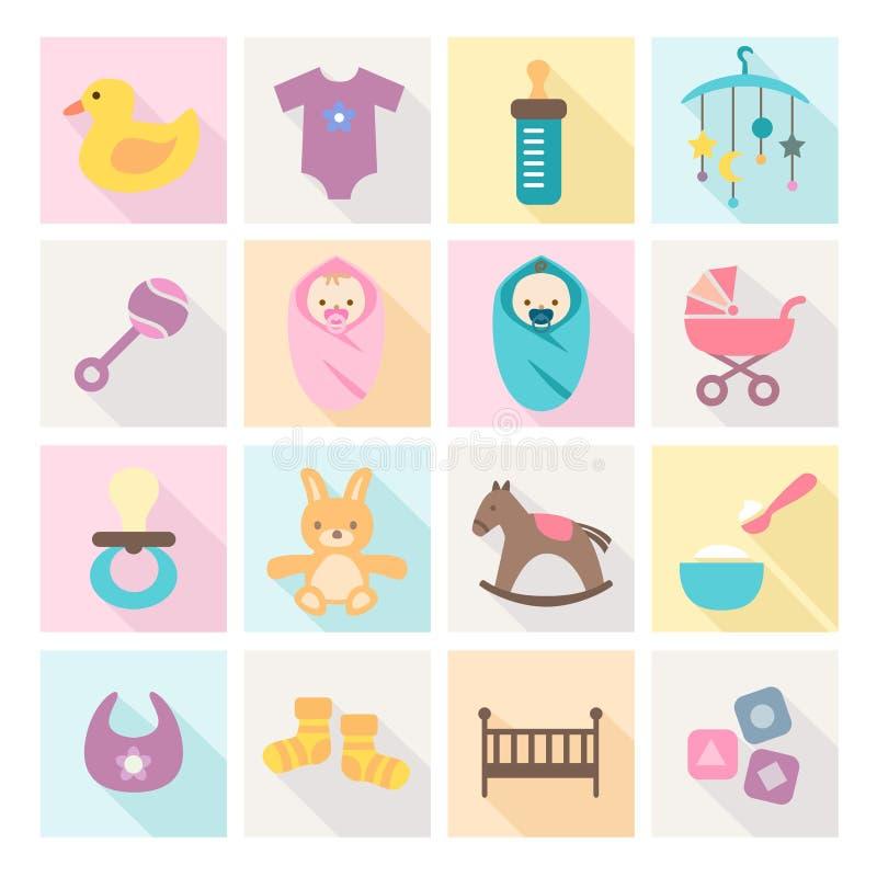 Dziecko ikony - dzieciaki i zabawki ilustracja wektor