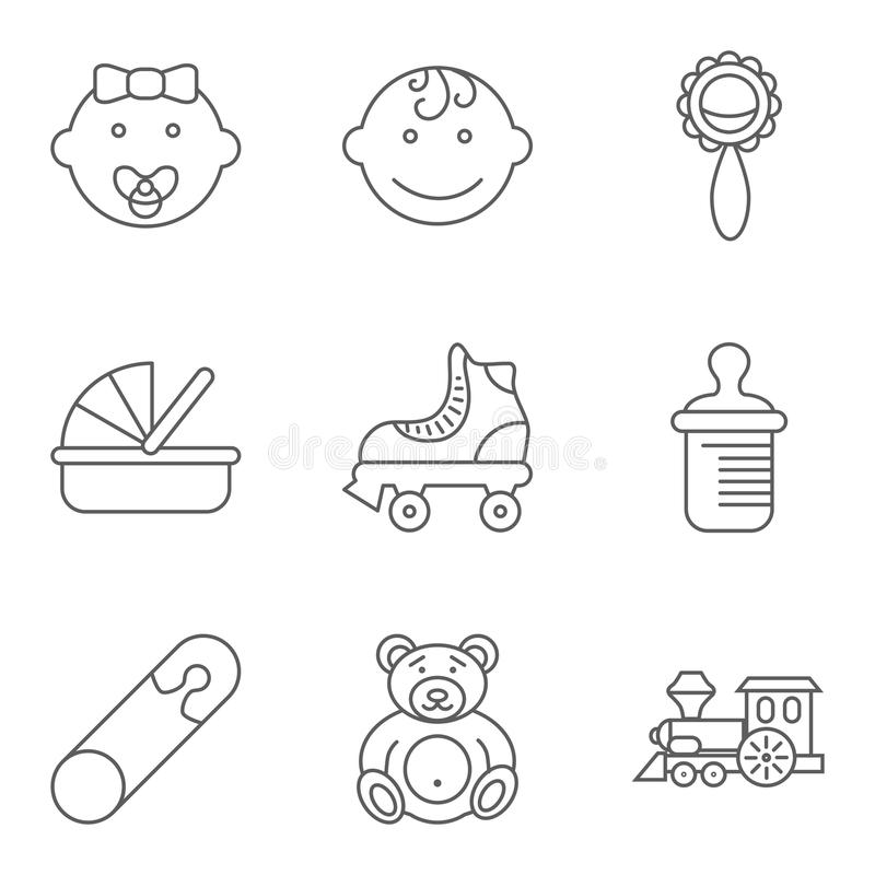 Dziecko ikony powiązany płaski wektorowy set royalty ilustracja