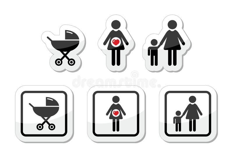 Dziecko ikony ustawiają parm -, brzemienność, matka ilustracji