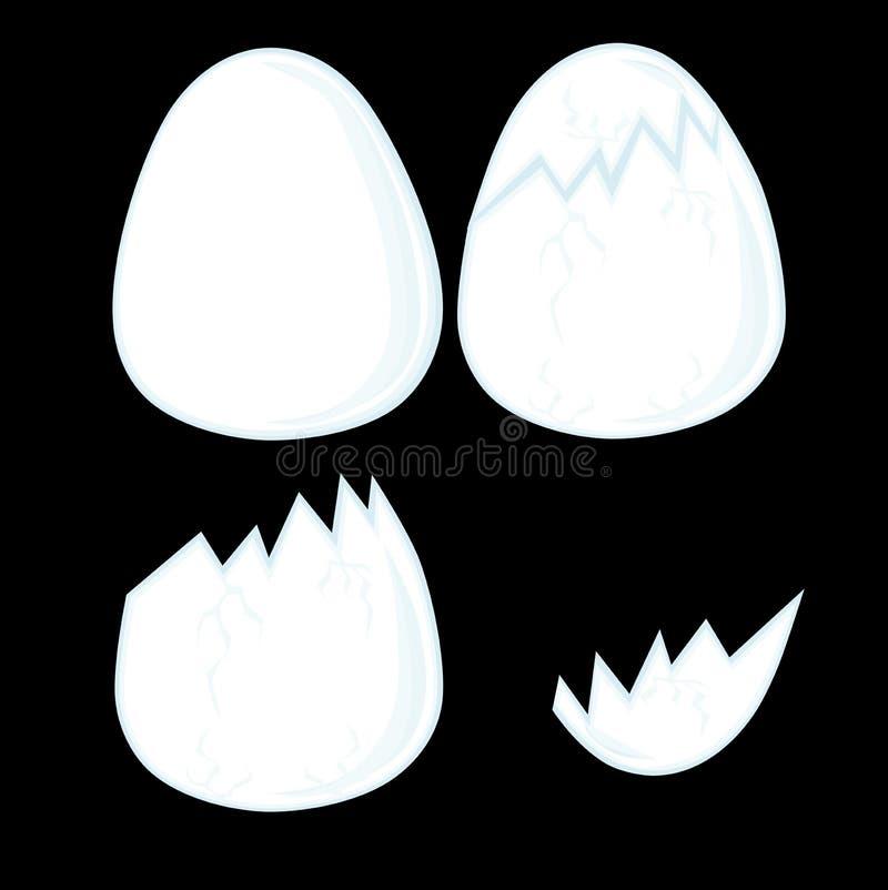 Dziecko ilustracja - cztery inaczej łamającego kurczaka jajka na czarnym tle ilustracja wektor