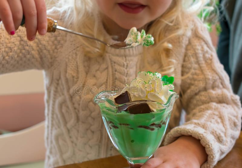 Dziecko je St Patrick ` s dnia fundę domowej roboty nowy shamrock ja zdjęcia royalty free